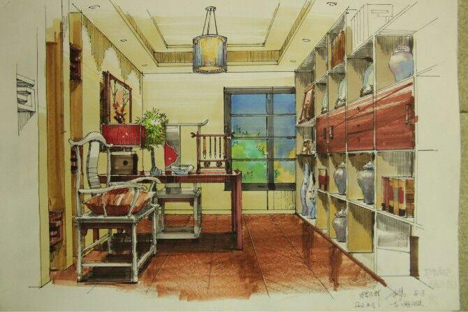 泉州室内设计学校手绘作品